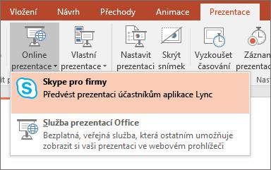 Zobrazuje možnost prezentovat online v PowerPointu
