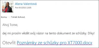 E-mail s odkazem na sdílený dokument