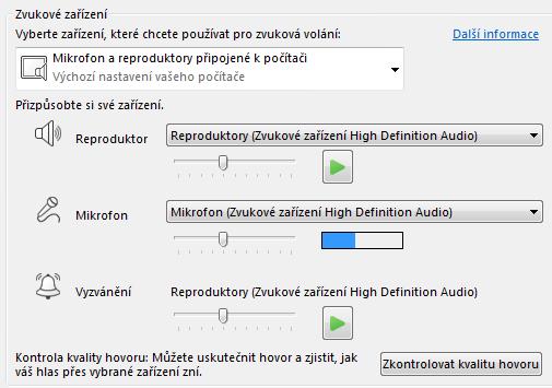 Snímek obrazovky s oblastí pro výběr zvukového zařízení, kde můžete nastavit kvalitu zvuku
