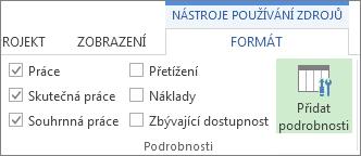 Nástroje používání zdrojů – karta Formát, tlačítko Přidat podrobnosti