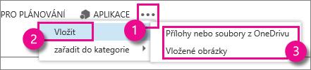 Tlačítko Další akce v Outlook Web Appu