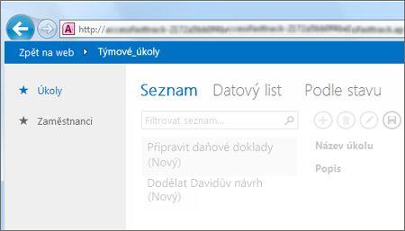 Aplikace pro Access zobrazující po levé straně tabulky a v horní části výběr zobrazení
