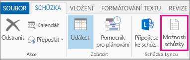 Tlačítko Možnosti schůzky v Outlooku 2013