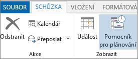 Tlačítko Pomocník pro plánování v Outlooku 2013