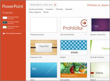 Úvodní obrazovka PowerPointu2013