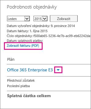 Vyberte možnost zobrazení faktury (PDF) a stáhněte si fakturu ve formátu PDF.