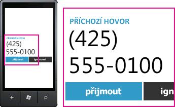 Snímek obrazovky ukazující telefonní číslo příchozího hovoru a odpovídací tlačítko v Lyncu pro mobilní klienty