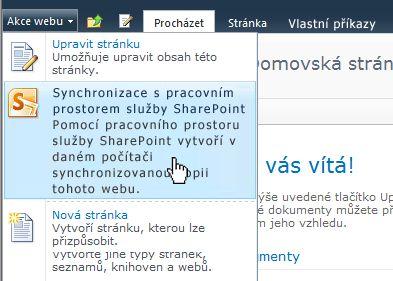 Tato možnost slouží k synchronizaci webu služby SharePoint s počítačem