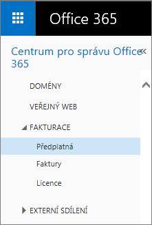 Odkaz na stránku Předplatná v Office 365 Small Business Premium