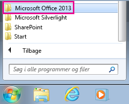 Office 2013 under Alle programmer i Windows 7