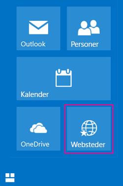 Vælg feltet Websteder for at få vist en liste over SharePoint-websteder