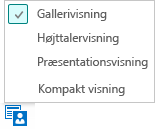 Skærmbillede af de tilgængelige mødevisninger med Visningen Galleri valgt