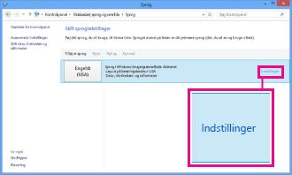 Tilføj inputmetode i Kontrolpanel i Windows 8