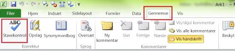 Excel-kommandoen Stavekontrol