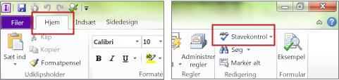 InfoPath Designer-kommandoen Stavning