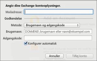 Angiv oplysninger til din Exchange-konto