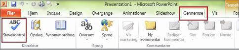 PowerPoint-kommandoen Stavekontrol