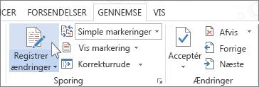Registrer ændringer på båndet i Word