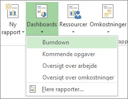 Menuen Dashboard under fanen Rapport