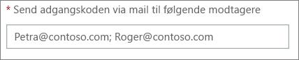 Viser, hvordan du kan angive mere end én mailadresse adskilt af semikolon