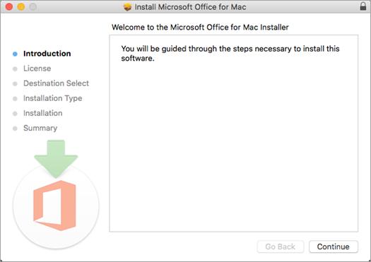 """Første installationsskærmbillede i Mac 2016 med """"Fortsæt"""" fremhævet"""
