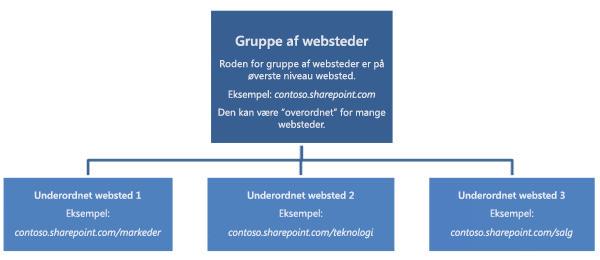 Hierarkisk diagram af en gruppe af websteder, som viser et websted på øverste niveau samt underordnede websteder.