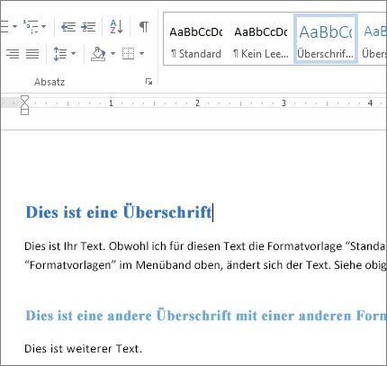 Word-Formatvorlagen