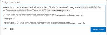 Dokument-URL, die in einen Newsfeedbeitrag eingefügt wurde