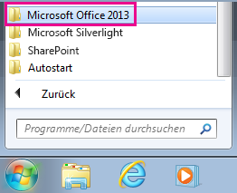 "Gruppe ""Office 2013"" unter ""Alle Programme"" in Windows 7"