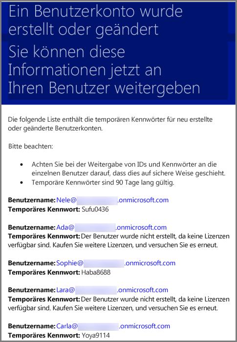 Eine Beispiel-E-Mail mit Informationen zu den Benutzeranmeldeinformationen