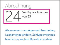 Zeigen Sie die Anzahl der verfügbaren Lizenzen an, um sie in Office365 SmallBusiness Premium zuzuweisen.