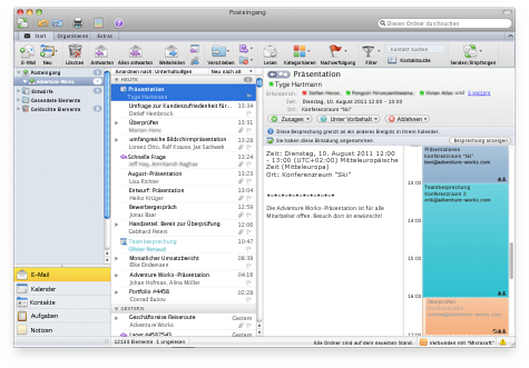 E-Mail-Einladung mit Kalenderanzeige