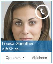Screenshot einer Benachrichtigung zu eingehendem Anruf, die Sie informiert, dass Sie angerufen werden