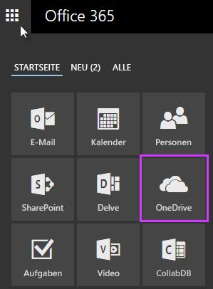 Mithilfe des App-Startfelds in Office365 zu OneDrive for Business wechseln