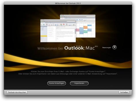 Outlook-Startbildschirm