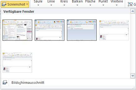 Befehl zum Einfügen eines Screenshots