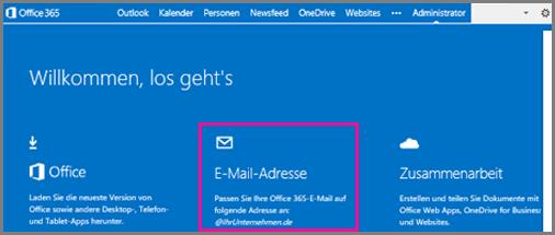 """Seite """"Willkommen"""" mit der Kachel """"E-Mail-Adresse"""""""