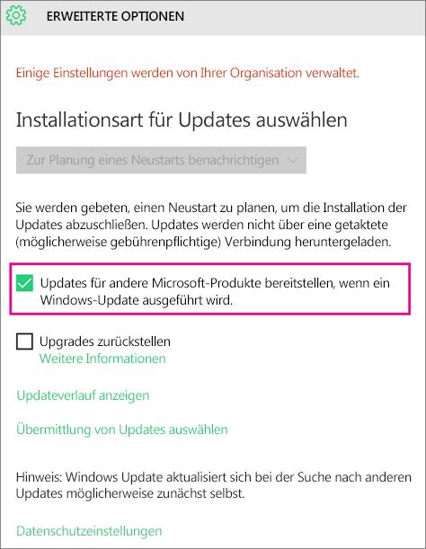 'Erweiterte Optionen' von Windows Update