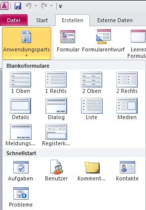 Anwendungsparts auf der Registerkarte 'Erstellen'