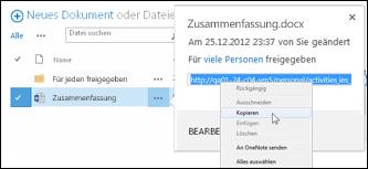 Eine SharePoint-Dokument-URL im Dokumentpopup