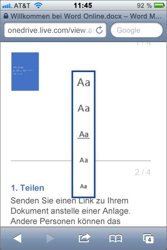 Auswählen eines Schriftgrads in Mobile Viewer für Word
