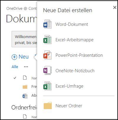 Office Online-Optionen, die Sie über die Schaltfläche 'Neu' in OneDrive for Business verwenden können
