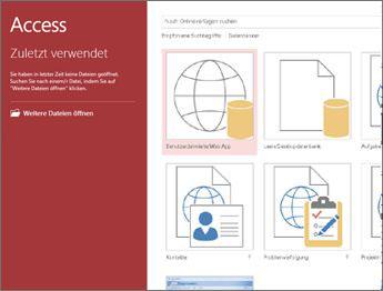 Access-Begrüßungsbildschirm mit dem Vorlagensuchfeld und den Schaltflächen 'Benutzerdefinierte Web App' und 'Leere Desktopdatenbank'.