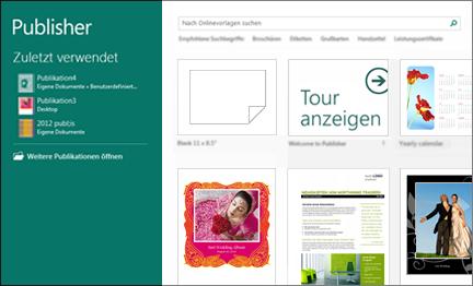 """Screenshot der Vorlagen """"Erste Schritte"""" in Publisher"""