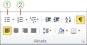 Word 2010-Schaltflächen 'Aufzählungszeichen' und 'Nummerierung'