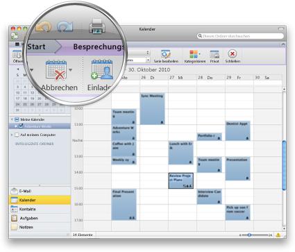 Outlook-Benutzeroberfläche mit dem neuen Menüband