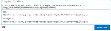 Eine Web-URL, die in einen Newsfeedbeitrag eingefügt wurde