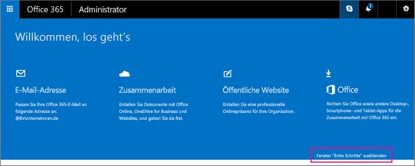 """Seite """"Erste Schritte"""" für Office365 SmallBusiness Premium"""