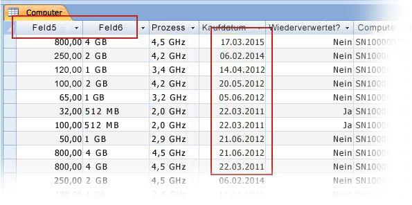 Überprüfen importierter Daten