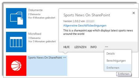 Screenshot des Befehls 'Entfernen' im Eigenschaftenpopup einer App.